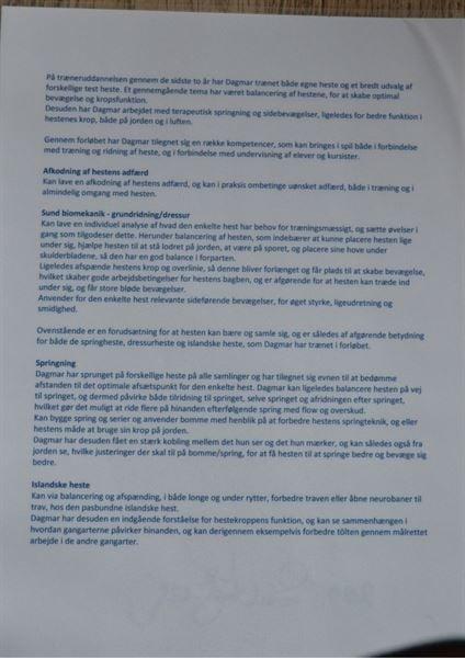 Bagsiden af Dagmars diplom for gennemførelse af BBH Træneruddannelsen