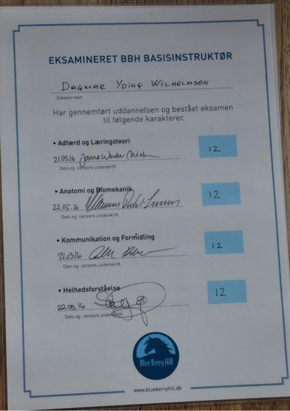 Dagmars eksamensbevis for BBH Basisinstruktøruddannelsen